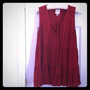 Knox Rose Tops - KNOX ROSE boho red rust tassel sleeveless tank M